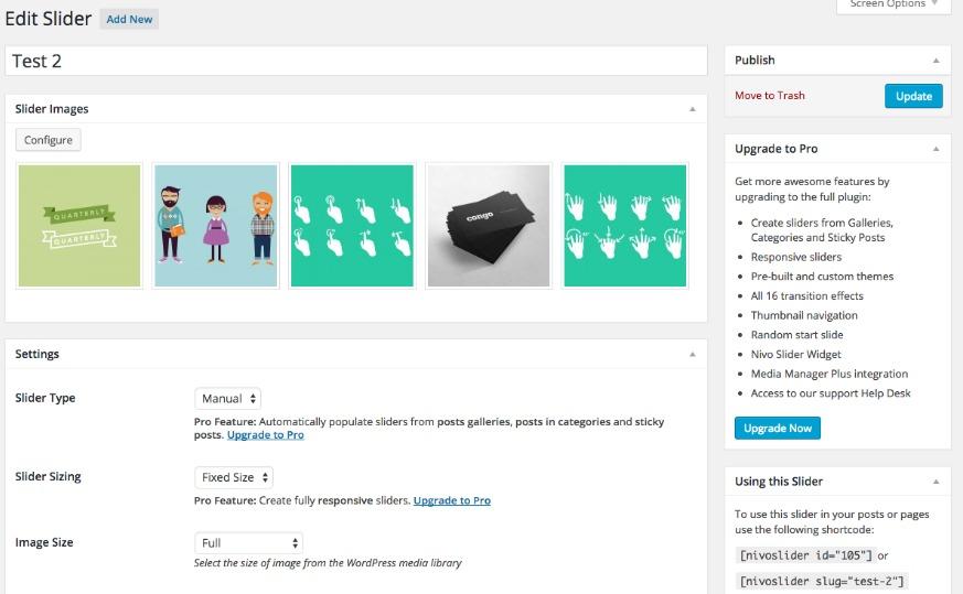 WordPress的的,插件,NIVO滑塊,儀表盤