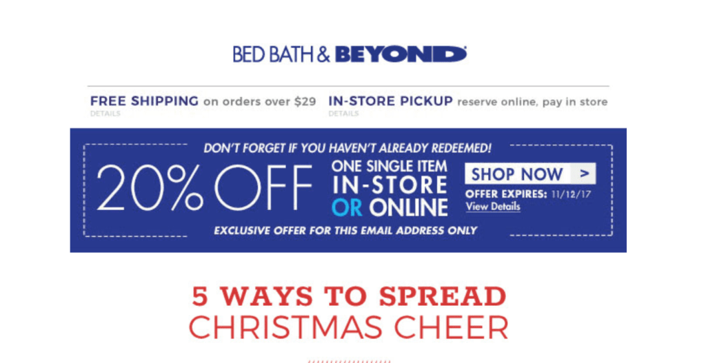 Bed Bath & Beyond call to action examples