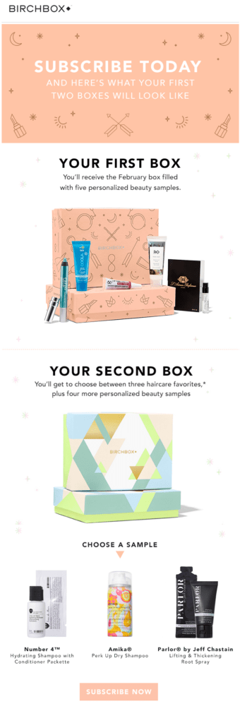 Birchbox box subscription call to action examples