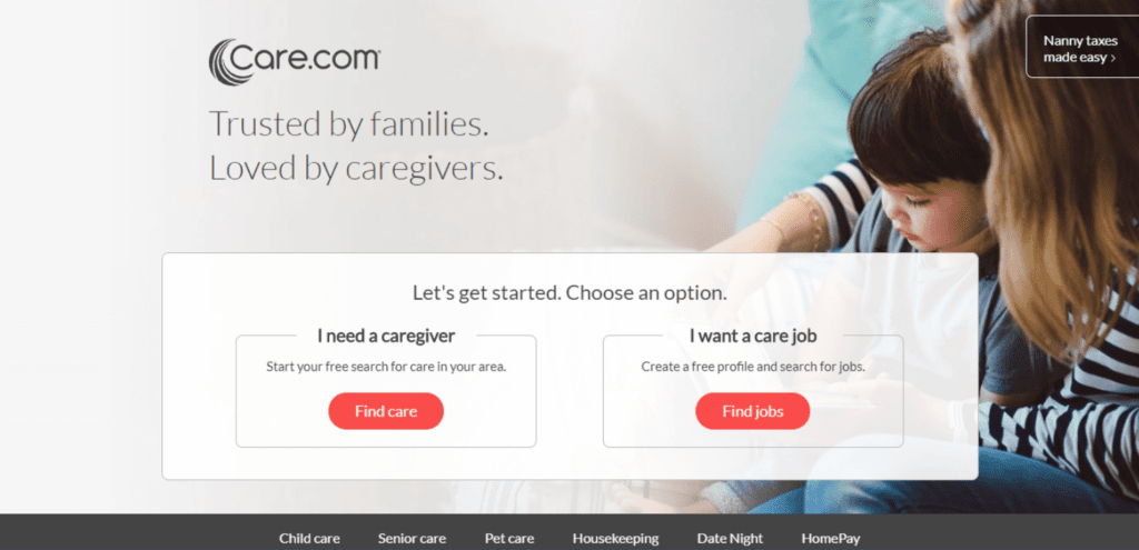 Care.com call to action examples