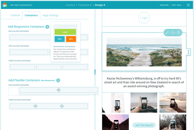 Pepo Campaigns email template builder.