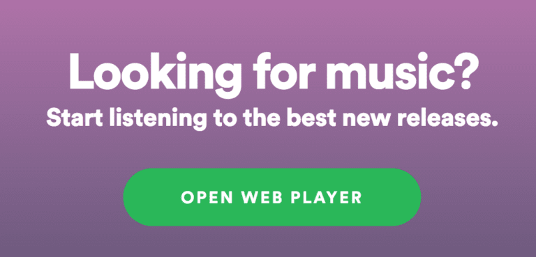 Spotify Web player call to action examples