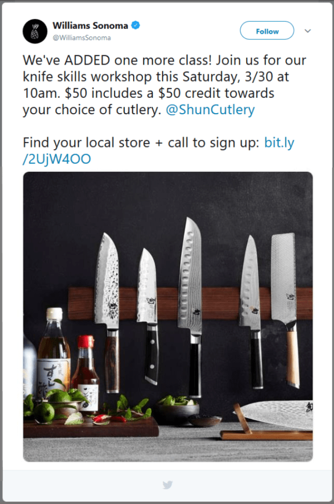 Williams Sonoma Twitter call to action examples