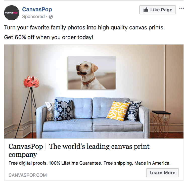 CanvasPop landing page call to action examples