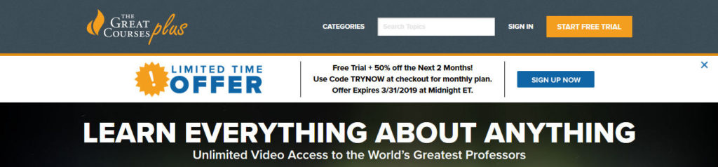 The Great Courses Plus landing page CTA call to action examples