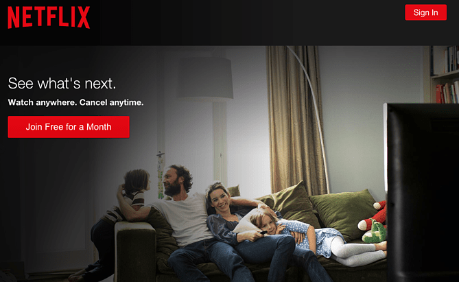 Netflix call to action examples
