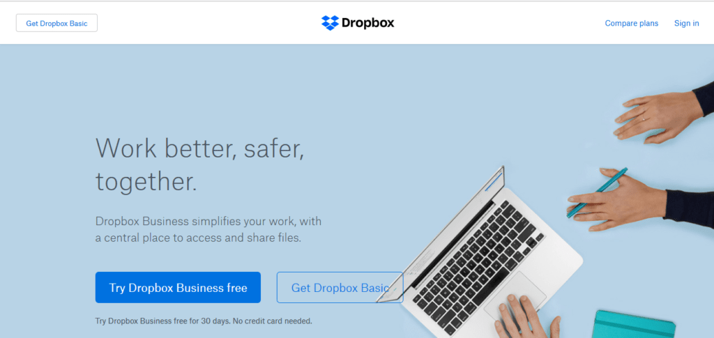 Dropbox business call to action examples