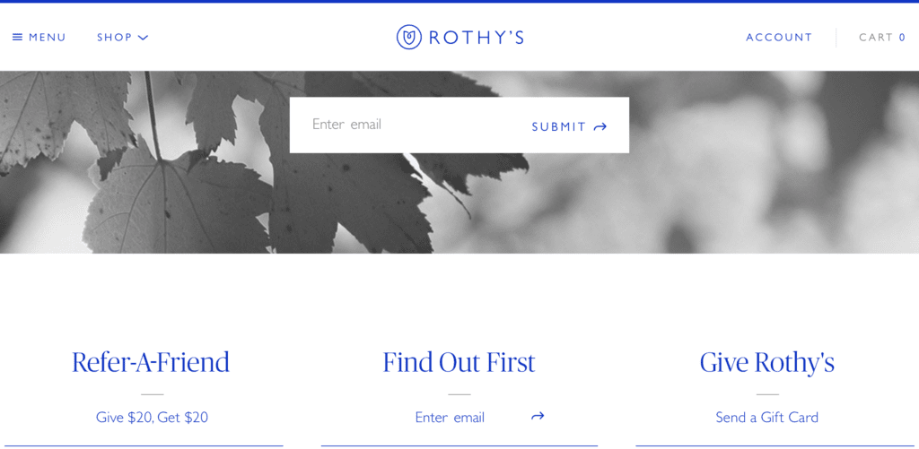 Rothy's call to action examples