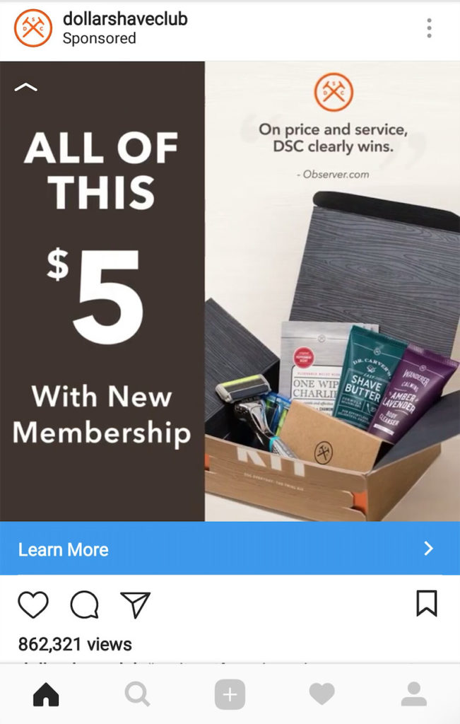 Dollar Shave Club Instagram Ad call to action examples