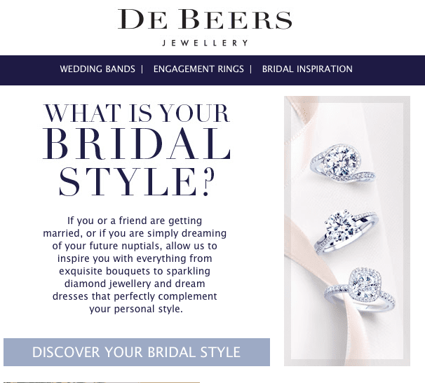 De Beers diamond rings call to action examples