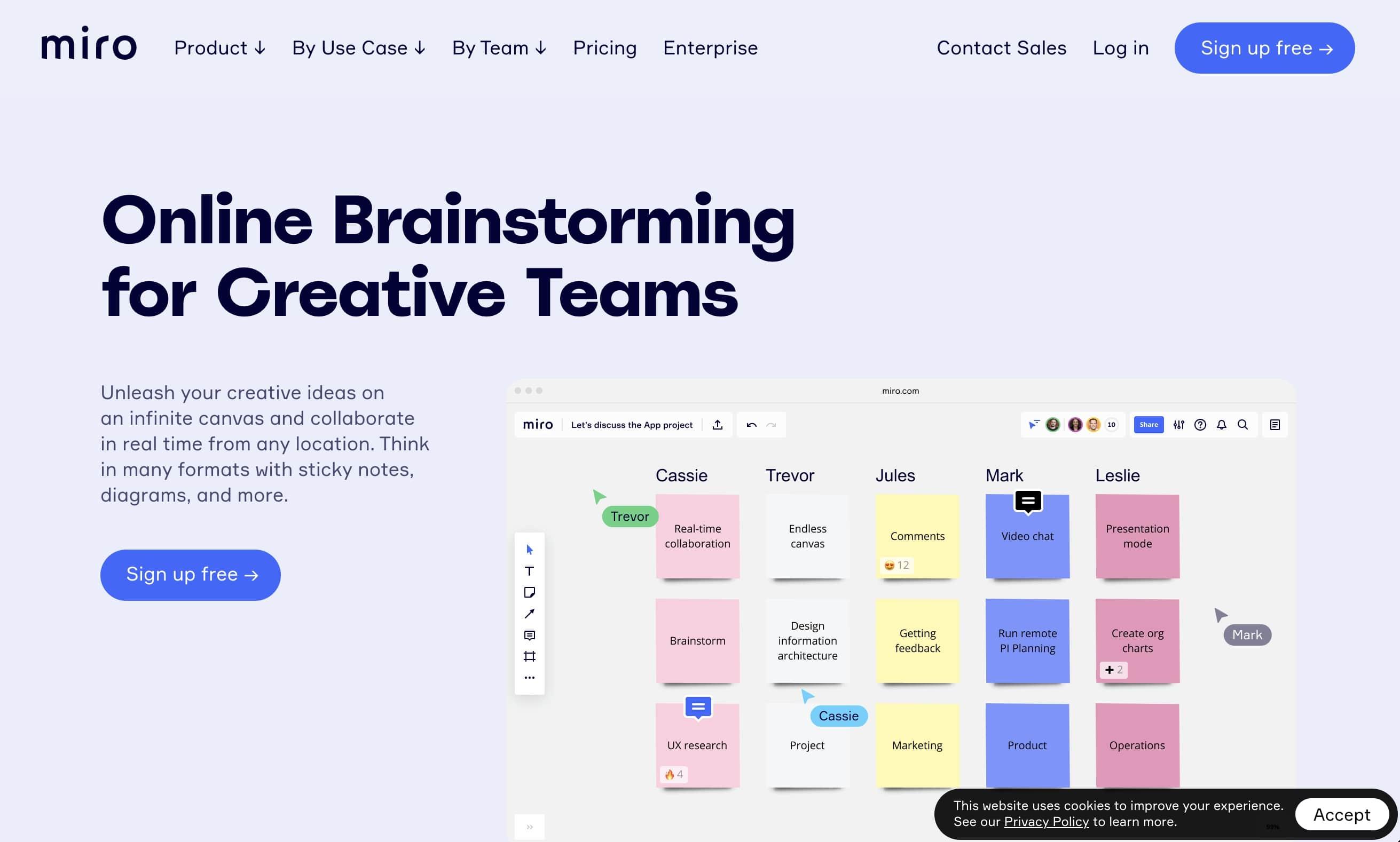 Miro's brainstorming tool landing page