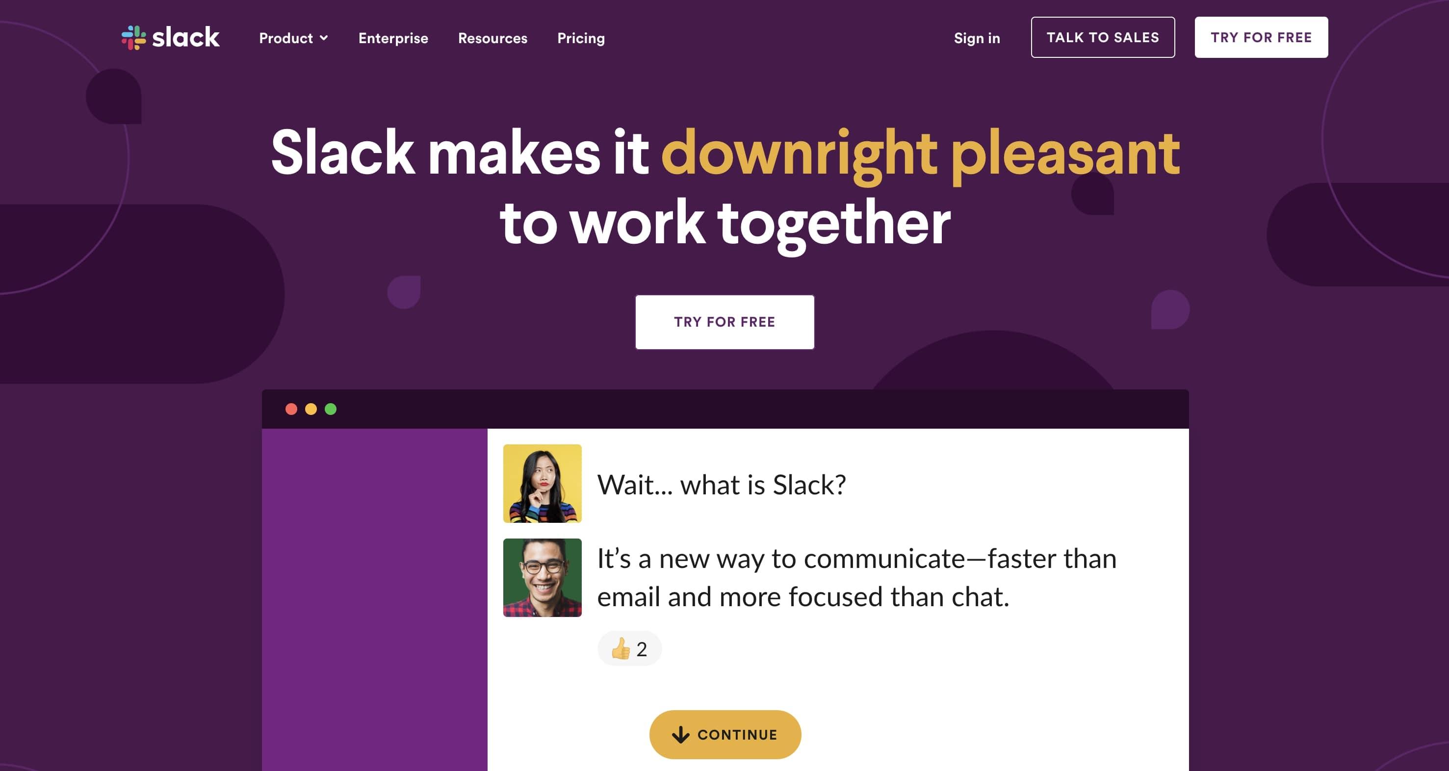 slack homepage