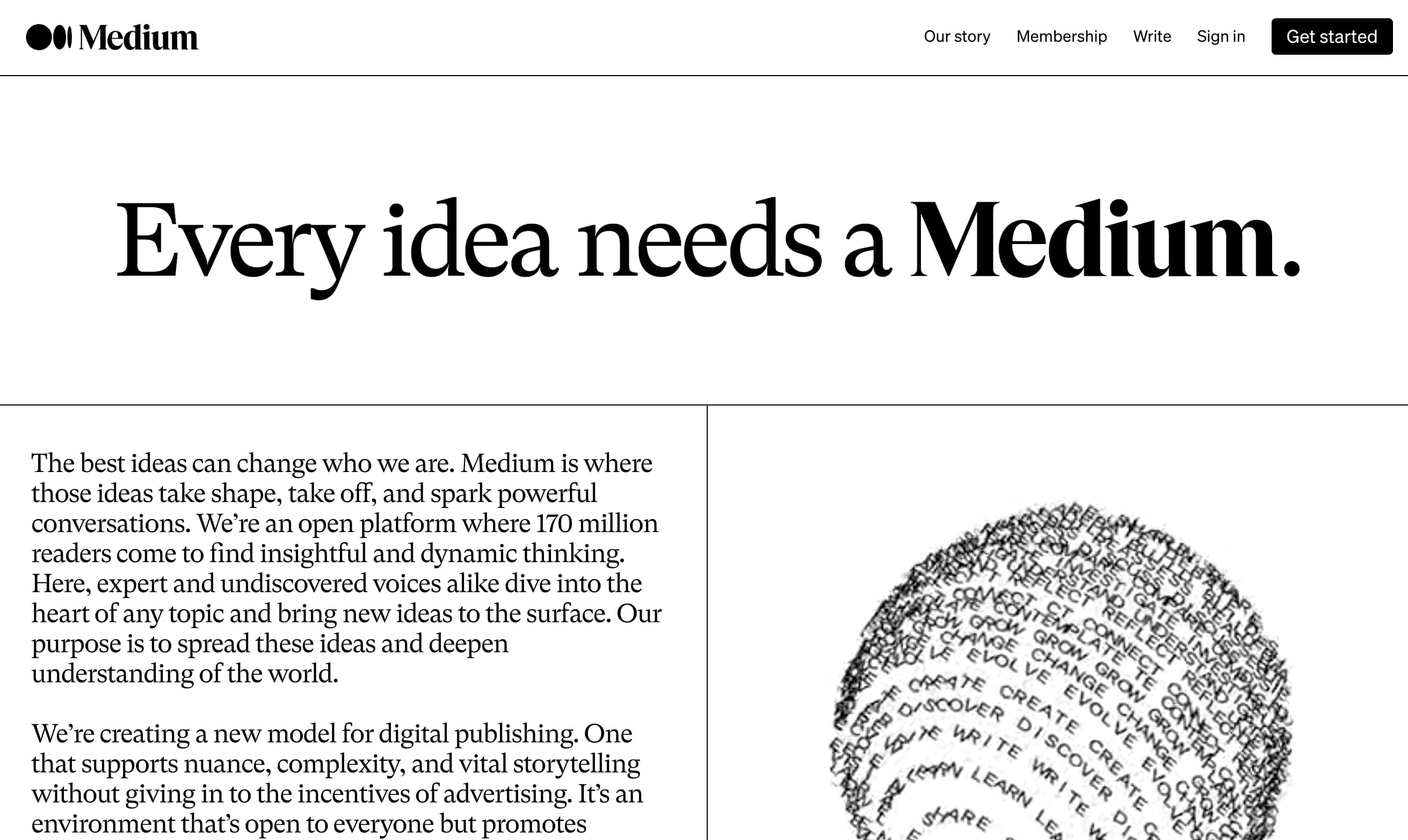 Medium's about page