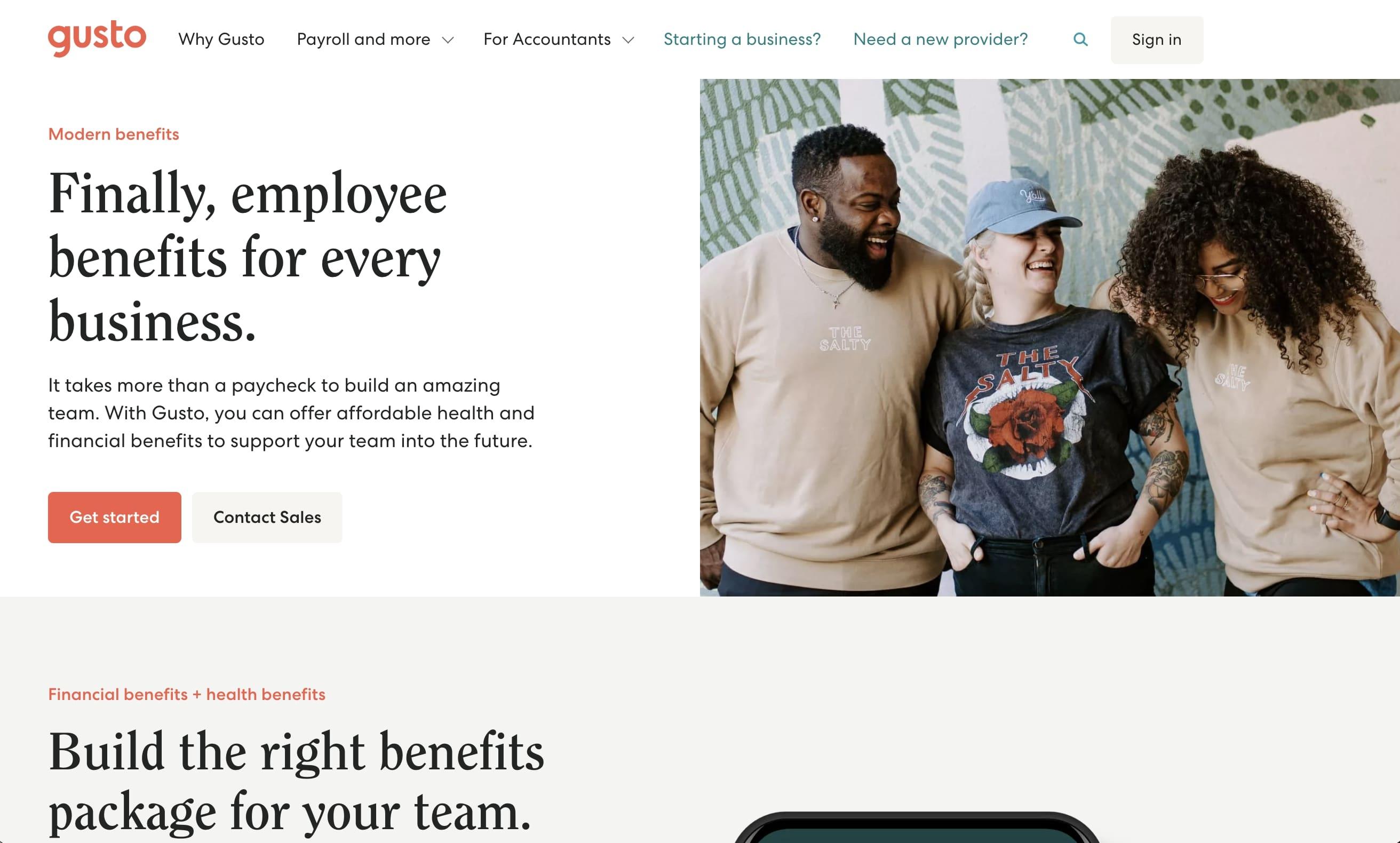 gusto benefits landing page