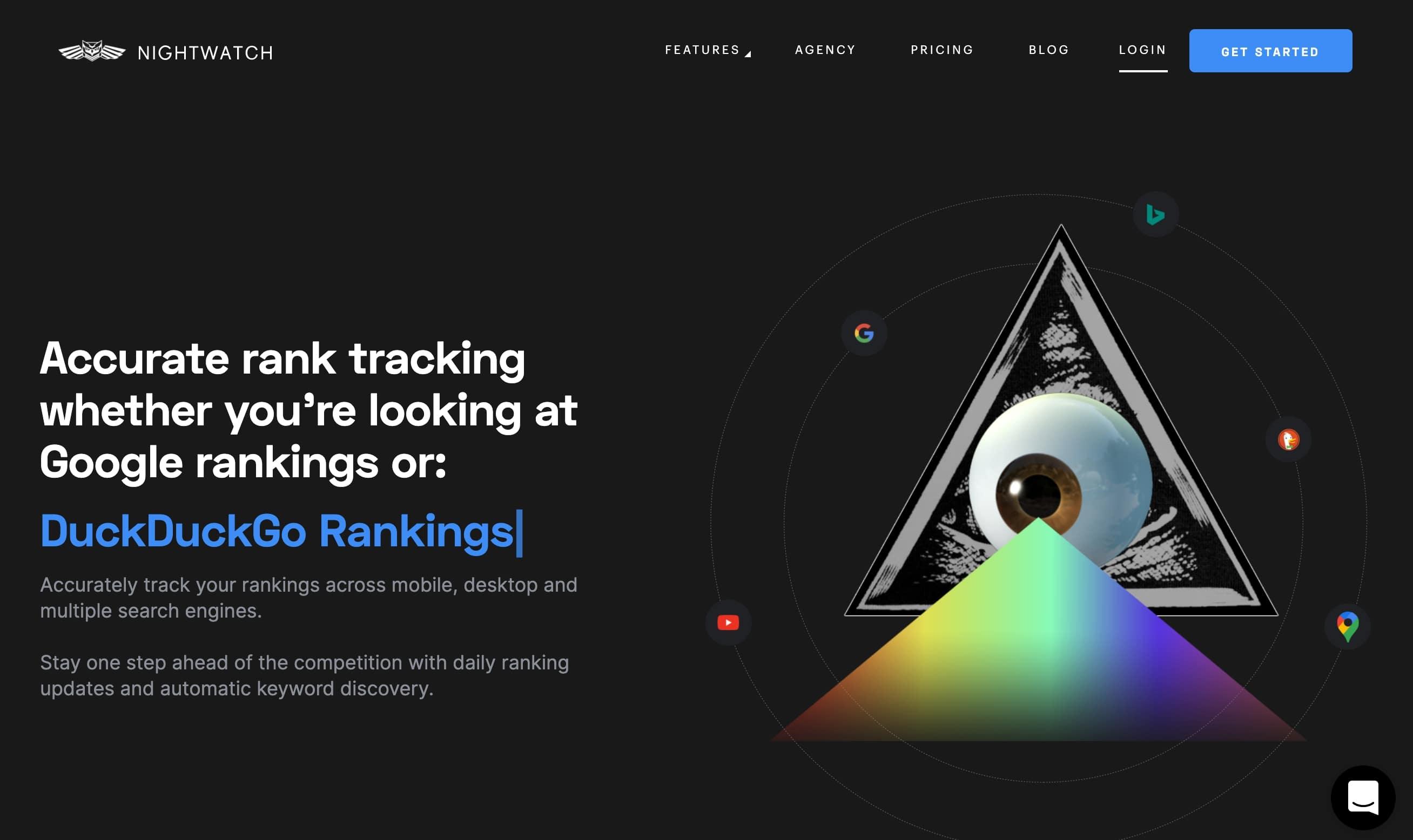 nightwatch rank tracker landing page
