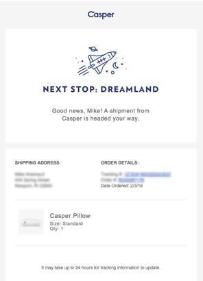 casper購買收據訂單確認郵件品牌策略
