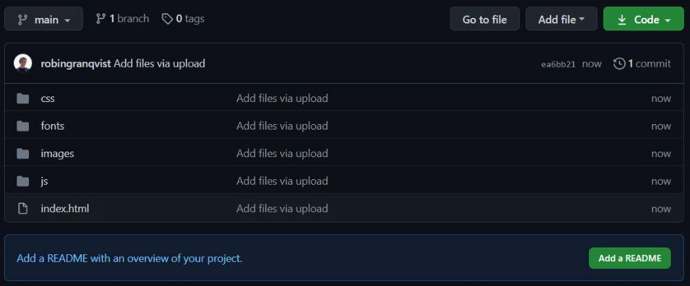 上傳到 Github 存儲庫中的文件